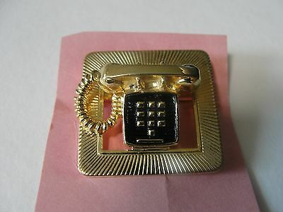 Vintage Minature Gold Phone Pin Back Button