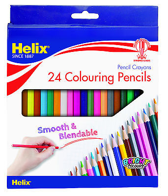 24 x HELIX COLOURING PENCILS - FULL Size Hexagonal - Ideal for Adult Colouring