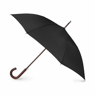 Totes Auto Open Wood Stick Umbrella Black One Size New