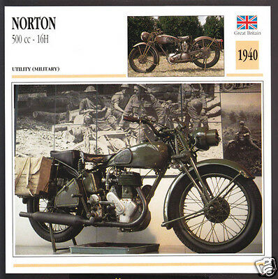 1940 Norton 500cc - 16H WW2 Army Military Motorcycle Photo Spec Sheet Info Card
