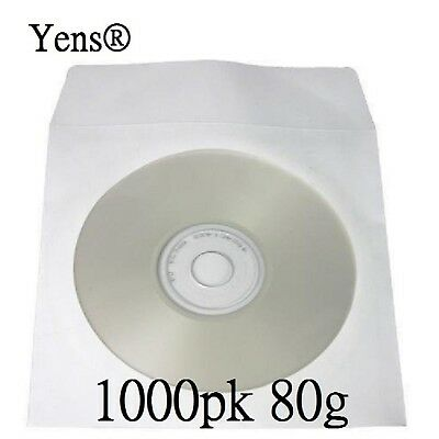 Yens 1000 pcs White CD DVD Paper Sleeves Envelopes with Flap and Clear Window