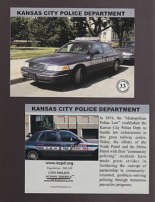 KANSAS CITY Missouri KCMO POLICE DEPARTMENT Ford City Squad Patrol Car 2002 CARD
