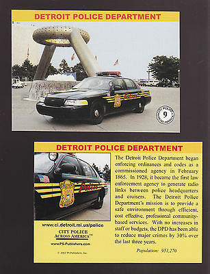 DETROIT Michigan POLICE DEPARTMENT Ford City Squad Patrol Car 2002 TRADING CARD