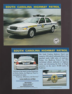 SOUTH CAROLINA SC STATE POLICE TROOPERS Ford Squad Car Highway Patrol 1999 CARD