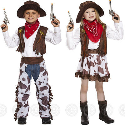 Cowboy Cowgirl Fancy Dress Costume Boys Girls Childs Wild West Western Kids New