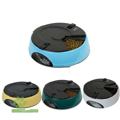 Automatic Dog Cat Pet  Feeder 6 Meal Pet Timer Bowl Food Bowl Programmable LCD