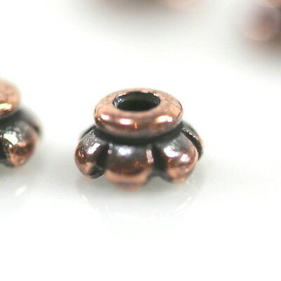 TierraCast Scalloped Bead Caps, Tiny 4mm, Antiqued Copper, 50 Pcs, 9618