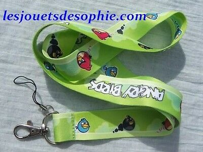 ANGRY BIRDS vert vague TOUR COU porte clef Badge cordon KEYCHAIN MP clef lanyard