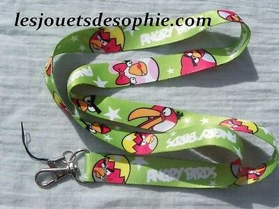 ANGRY BIRDS vert lisse TOUR COU porte clef Badge cordon KEYCHAIN MP clef lanyard