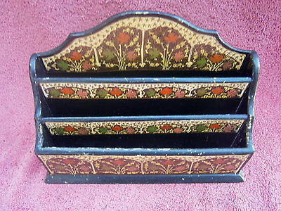 Vintage  Papier  Machie  Letter  Rack  Made  In  India
