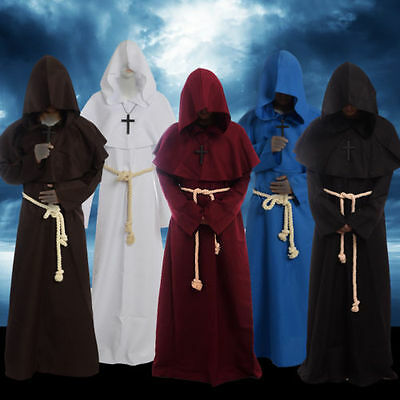 Friar Medieval Cowl Hooded Monk Priest Robe Costume waistband  cross necklace
