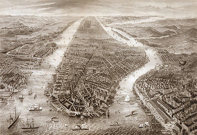 Reproduction Print Bird's-eye view of Manhattan, New York City.  Giclee Map