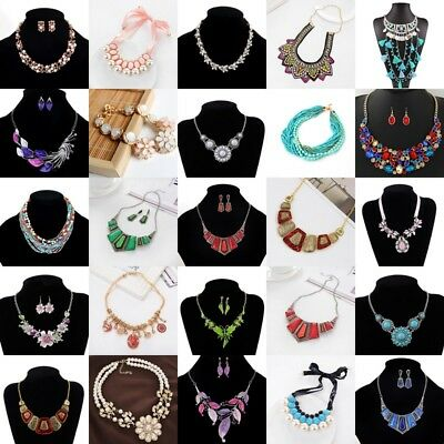 Women Crystal Rhinestone Jewelry Chunky Statement Bib Pendant Choker Necklace