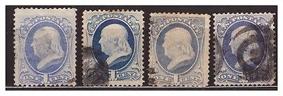 s3385) USA Used 1870 c.1 (x4) different paper and colours