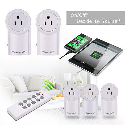 4/ 5 Pack Remote Control Wireless Outlet Power Light Bulb Plug Switch Socket US