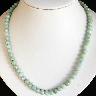 """19"""" Natural Jadeite ( A Jade ) Beads Necklace *** Untreated / K8570"""