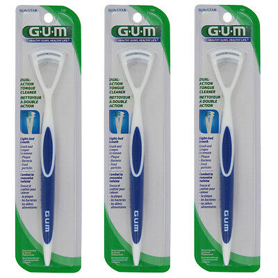3 Pack GUM Dual-Action Tongue Cleaner, Colors May Vary