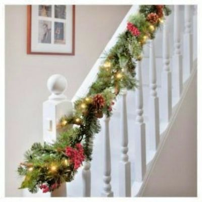 Xmas X Large 9Ft Luxury Light Up Led Pre Lit Garland Decorated Christmas Berries