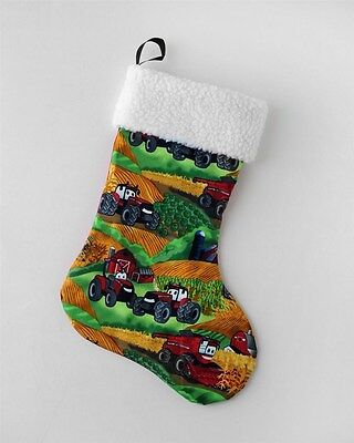Kids Case IH Landscape Tractor Stocking Christmas Holiday Stocking