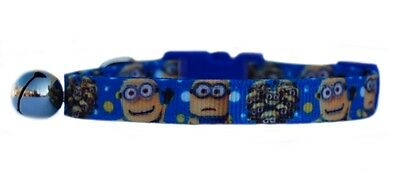 Handmade fabric Blue Yellow Minions  safety kitten cat collar bell 3 sizes