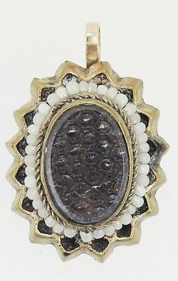 Antique Victorian GF Mourning Woven Hair Seed Pearl Necklace Pendant (M811-004)