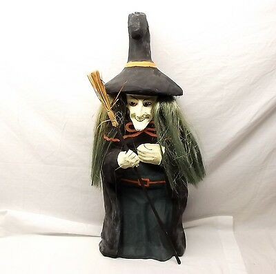 "Vtg Large Paper Mache Witch Halloween Decoration Statue 25.5"" Broomstick Spooky"