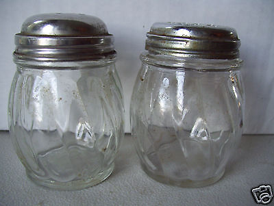 "Vintage Clear Glass Salt & Pepper Shaker Set 3.5"" Tall 2"" Bottom Stainless Lids"