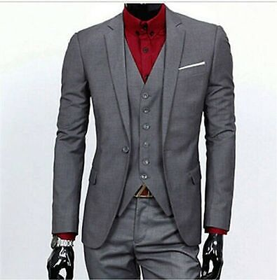 Grey 3-piece Custom Groom Suit Groomsmen Tuxedo Business Best Men Wedding Suits