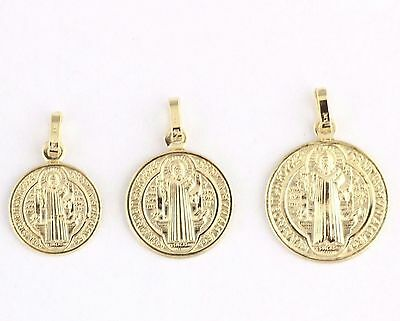 Solid Sterling Silver Saint Benedict Gold Plated Medal Pendant Italy Small 15mm