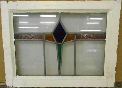 "MID SIZED OLD ENGLISH LEADED STAINED GLASS WINDOW Colorful Band 22.25"" x 17"""