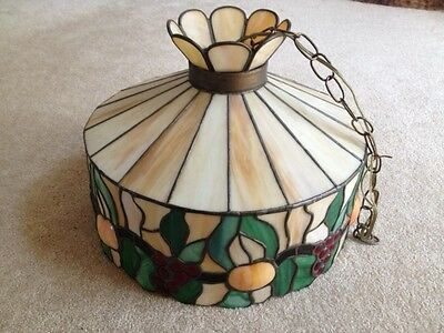 Vintage Stained Glass Light Hanging Lamp Shade Chandelier  - 3 Bulb