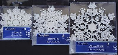 CHRISTMAS WHITE GLITTER SNOWFLAKES ORNAMENTS w Foil Loops SELECT: Snowflake