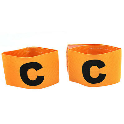 2 Pcs Letter C Pattern Elastic Soccer Football Sport Guard Armband Yellow