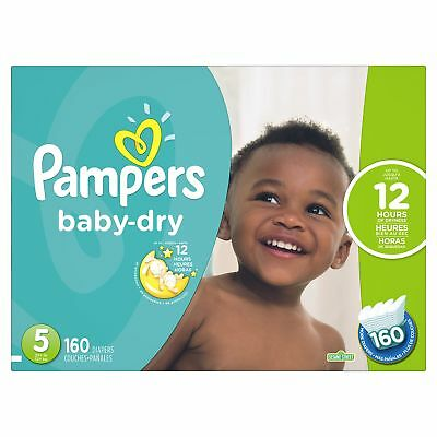 Pampers Baby Dry Diapers Economy Pack Plus Size 5 160 Count New