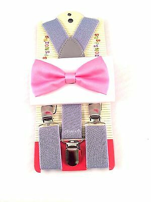 New Kids Gray Suspenders Pink Bow Tie Set Tuxedo Wedding Suit