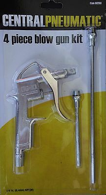 "AIR BLOW GUN KIT 4 Piece Pistol with Three Extensions 0.5"", 4"" or 8"""
