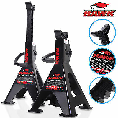Hawk Heavy Duty 6 Ton Garage Workshop Car Van Ratchet Lift Axle Jack Stands Pair