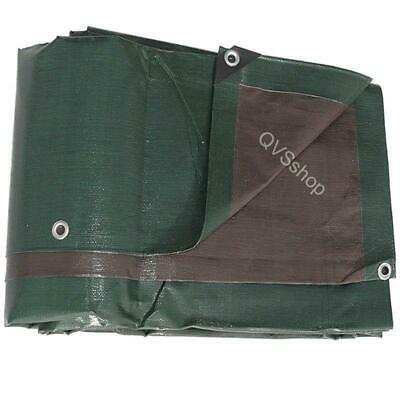 2M x 2M GREEN BROWN TARPAULIN Tarp Cover 250GSM HEAVY DUTY SHEET with eyelets