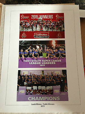 Large Treble Special 16 X 12 Leeds Rhinos Photo Print Super League Challenge Cup