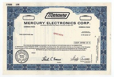 SPECIMEN - Mercury Electronics Corporation Stock Certificate