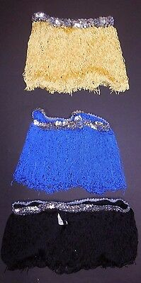"""NEW FRINGE SKIRT W/Silver Sequin waist band 7 colors offered ch/ladies 9"""" length"""