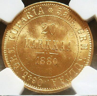 1880 S Gold Finland / Imperial Russia 20 Markkaa Ngc Mint State 63 Key Date