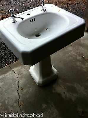 Antique Vintage Cast Iron pedestal white  sink