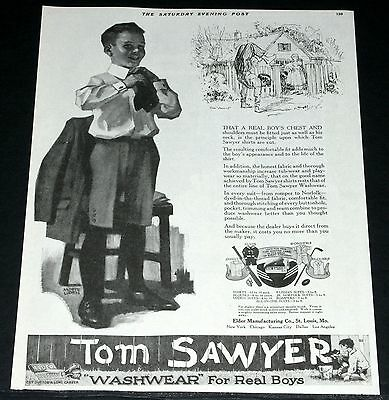 1919 Old Magazine Print Ad, Tom Sawyer Clothes For Real Boys, Andrew Loomis Art!