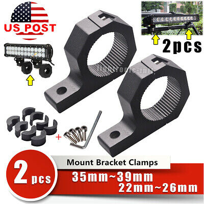 "2x 0.8""1.5"" 2"" Roll Cage Tube Mounting Bracket Led Light Bar Clamp Offroad 4WD"