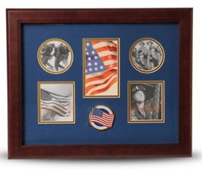 5 Picture Collage Frame American Flag Medallion By Veterans