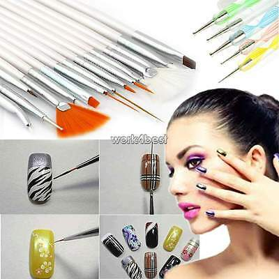 20pcs Nail Art Design Painting Dotting Detailing Pen Brushes Bundle Tool Kit Set