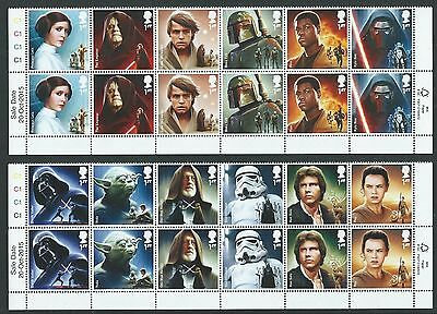 Great Britain 2015 Star Wars Set Of 12 In Cylinder Blocks Unmounted Mint, Mnh