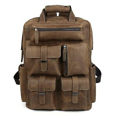 "Mens Real Leather 17"" Laptop Backpack Large Travel Hiking Rucksack Laptop Bag"