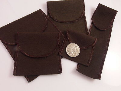 Anti-Tarnish Flannel Brown Flap Pouch Bag Jewellery Storage; Choice Of Sizes
